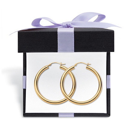 """14k Yellow Gold Hoop Earrings Nano Diamond Resin Filled (1 3/8"""") With FREE Gift Box at PalmBeach Jewelry"""