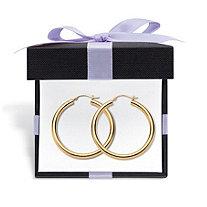 14k Yellow Gold Hoop Earrings Nano Diamond Resin Filled (1 3/8