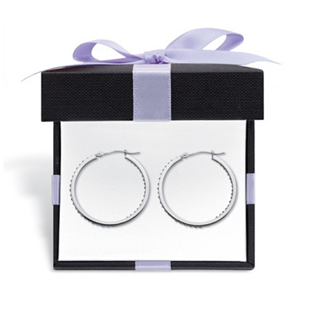 """Diamond Fascination Bernish-Set Inside-Out Hoop Earrings in Platinum Plated.925 Sterling Silver  (1 1/4"""") With FREE Gift Box at PalmBeach Jewelry"""