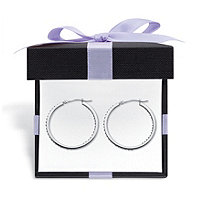 """Diamond Fascination Bernish-Set Inside-Out Hoop Earrings in Platinum Plated.925 Sterling Silver (1 1/4"""") With FREE Gift Box"""