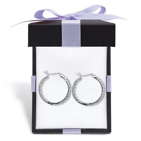 Round Diamond Accented Inside-Out Hoop Earrings 1/10 TCW in Platinum-Plated Silver With FREE Gift Box at PalmBeach Jewelry