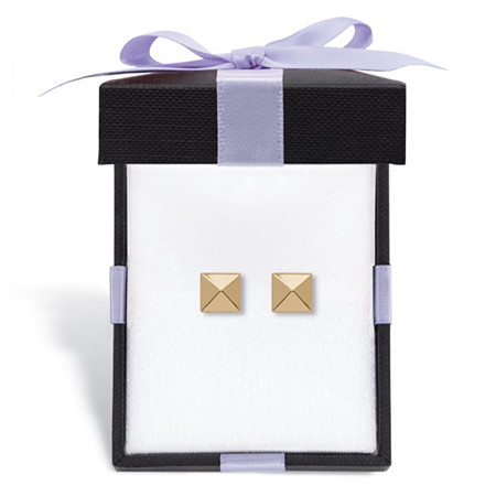 Pyramid Stud Earrings in Hollow 14k Yellow Gold With FREE Gift Box at PalmBeach Jewelry