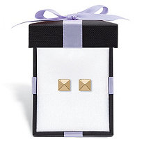 Pyramid Stud Earrings in Hollow 14k Yellow Gold With FREE Gift Box