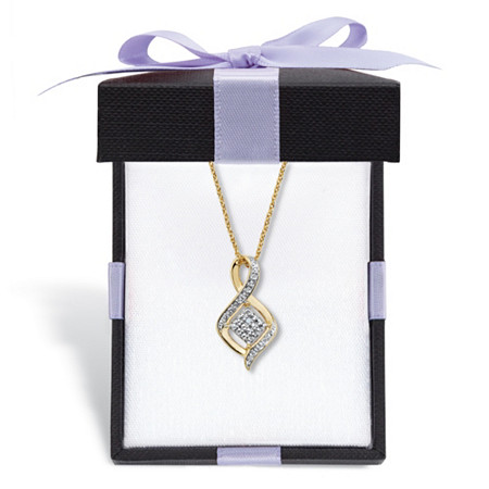 """Diamond Accent Cluster Bypass Pendant Necklace Gold-Plated 18"""" - 20"""" With a FREE Gift Box at PalmBeach Jewelry"""