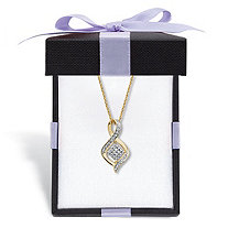 Diamond Accent Cluster Bypass Pendant Necklace Gold-Plated 18
