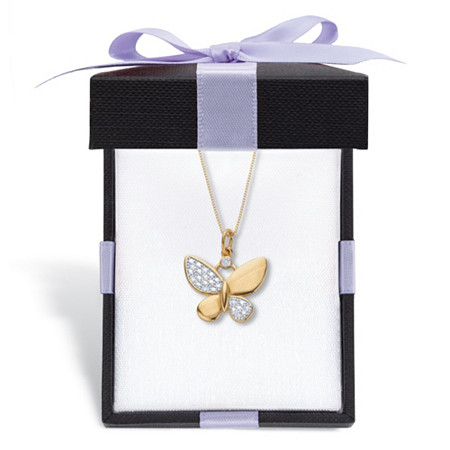 """Diamond Accent Butterfly Pendant Necklace 18k Gold-Plated 18"""" With FREE Gift Box at PalmBeach Jewelry"""