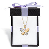 """Diamond Accent Butterfly Pendant Necklace 18k Gold-Plated 18"""" With FREE Gift Box"""