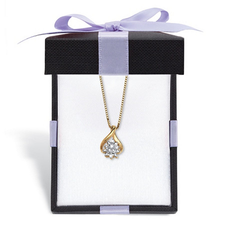 """Diamond Accent Cluster Pendant Necklace in 18k Gold-Plated Sterling Silver 18"""" With FREE Gift Box at PalmBeach Jewelry"""