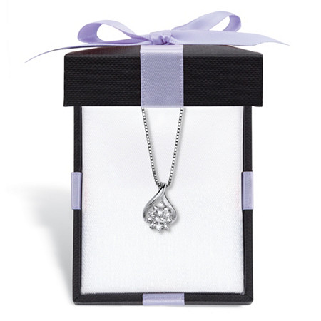 """Diamond Accent Cluster Pendant Necklace in Platinum-Plated Sterling Silver 18"""" Length With FREE Gift Box at PalmBeach Jewelry"""