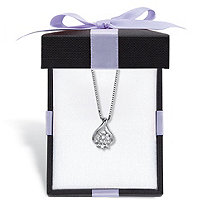 """Diamond Accent Cluster Pendant Necklace in Platinum-Plated Sterling Silver 18"""" Length With FREE Gift Box"""