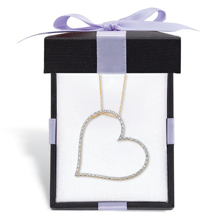 """Diamond Accent Heart Pendant and Rope Chain in Solid 10k Yellow Gold 18"""" With FREE Gift Box at PalmBeach Jewelry"""