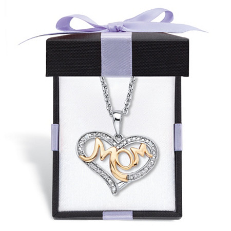 """Diamond Accent Two-Tone """"Mom"""" Heart Pendant (20mm) Necklace in 14k Gold-Plated Sterling Silver 18"""" - 20"""" with FREE Gift Box at PalmBeach Jewelry"""