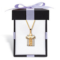 """Men's 1/10 TCW Diamond Two-Tone Gold-Plated Sterling Silver Crucifix Pendant Necklace 20"""" Length With FREE Gift Box"""