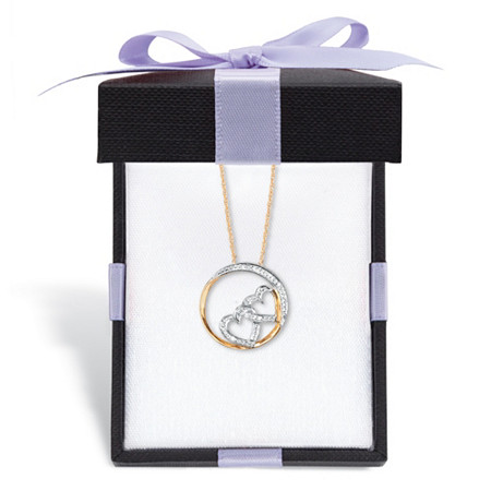 """Diamond Accent Double Heart Pendant Necklace in Solid 10k Yellow Gold 18"""" With FREE Gift Box at PalmBeach Jewelry"""