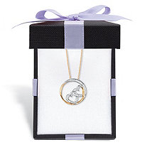 Diamond Accent Double Heart Pendant Necklace in Solid 10k Yellow Gold 18
