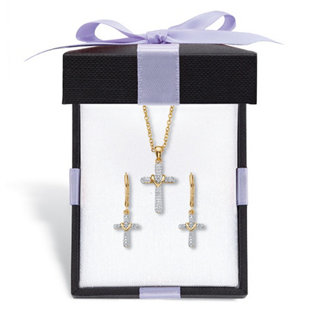 """Diamond Accent Gold-Plated 2-Piece Cross Earring and Necklace Set 18""""-20"""" With FREE Gift Box at PalmBeach Jewelry"""