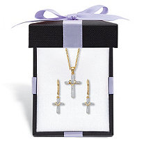 Diamond Accent Gold-Plated 2-Piece Cross Earring and Necklace Set 18