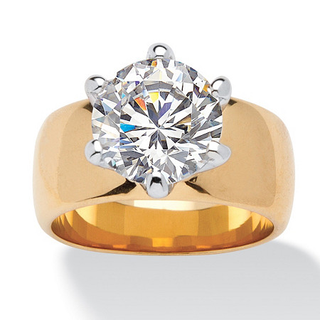 4 TCW Round Cubic Zirconia Solitaire Engagement Anniversary Ring in 18k Gold-Plated at PalmBeach Jewelry