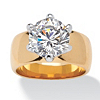 Related Item 4 TCW Round Cubic Zirconia Solitaire Engagement Anniversary Ring in 14k Gold-Plated