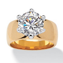 4 TCW Round Cubic Zirconia Solitaire Engagement Anniversary Ring in 18k Gold-Plated