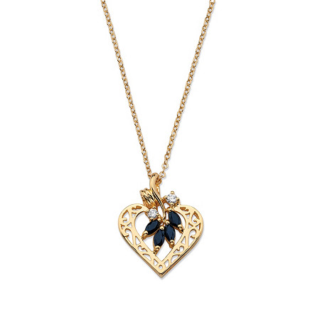 1.60 TCW Genuine Sapphire and Cubic Zirconia Heart Pendant Necklace in Yellow Gold Tone at PalmBeach Jewelry