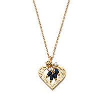 1.60 TCW Genuine Sapphire and Cubic Zirconia Heart Pendant Necklace in Yellow Gold Tone