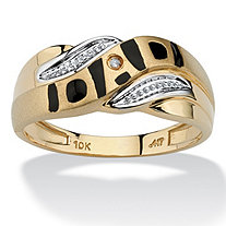 "Men's Diamond Accent ""Dad"" I.D. Ring in Solid 10k Yellow Gold"