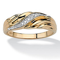 SETA JEWELRY Men's Diamond Accent 10k Yellow Gold Swirled Wedding Band Ring