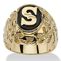 Men's Oval-Shaped Genuine Onyx Nugget-Style Personalized Initial Ring