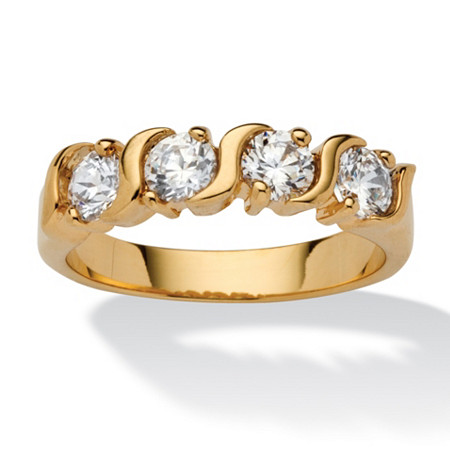 1 TCW Round White Cubic Zirconia Yellow 18k Gold-Plated S-Link Ring at PalmBeach Jewelry