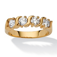 Round White Cubic Zirconia Yellow 18k Gold-Plated S-Link Ring ONLY $11.95