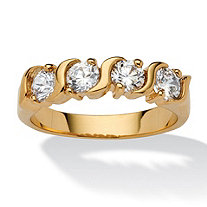 1 TCW Round White Cubic Zirconia Yellow 18k Gold-Plated S-Link Ring