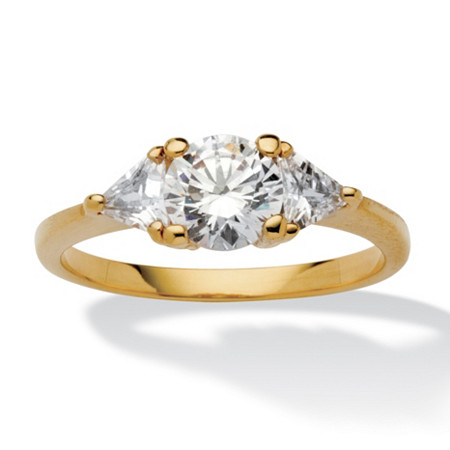 2.18 TCW Round and Trilliant-Cut Cubic Zirconia 14k Yellow Gold-Plated 3-Stone Engagement Ring at PalmBeach Jewelry