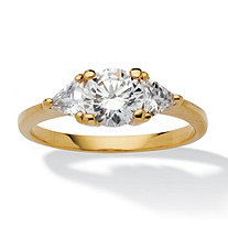 SETA JEWELRY 2.18 TCW Round and Trilliant-Cut Cubic Zirconia 14k Yellow Gold-Plated 3-Stone Engagement Ring