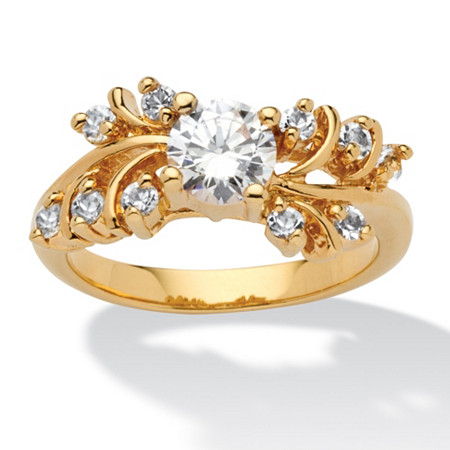 .80 TCW Round Cubic Zirconia and Crystal 14k Gold-Plated Ring at PalmBeach Jewelry