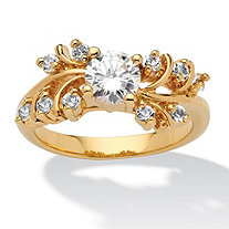 .80 TCW Round Cubic Zirconia and Crystal 14k Gold-Plated Ring