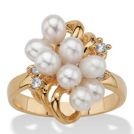 Cultured Freshwater Pearl and Crystal Accent Cluster Cocktail Ring 14k Yellow Gold-Plated at PalmBeach Jewelry