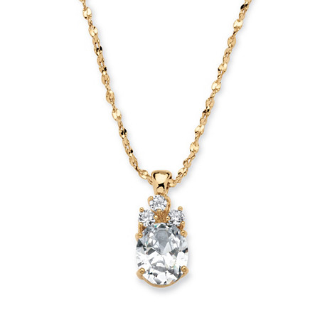 2.59 TCW Oval-Cut Cubic Zirconia Pendant Necklace in Yellow Gold Tone at PalmBeach Jewelry