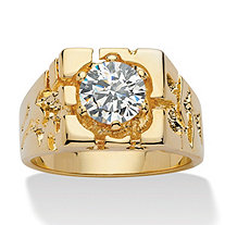 SETA JEWELRY Men's 2 TCW Round Cubic Zirconia 14k Yellow Gold-Plated Nugget-Style Ring