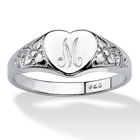 Sterling Silver Initial Heart Ring at PalmBeach Jewelry