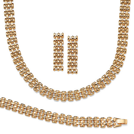 Panther-Link Necklace, Bracelet and Earrings 3-Piece Set in Yellow Gold Tone at PalmBeach Jewelry