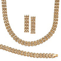Panther-Link Necklace, Bracelet and Earrings 3-Piece Set in Yellow Gold Tone
