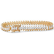 13.25 TCW Marquise-Cut Cubic Zirconia 14k Yellow Gold-Plated Tennis Bracelet 7.50""