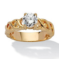 1.08 TCW Round Cubic Zirconia Solitaire Lattice Engagement Ring 14k Gold-Plated
