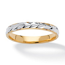 Textured Wedding Ring Band in Two-Tone 14k Gold-Plated