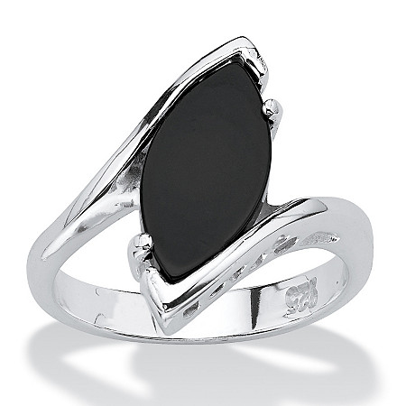 Marquise-Shaped Genuine Onyx Sterling Silver Classic Ring at PalmBeach Jewelry