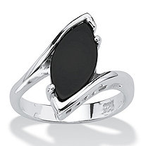 SETA JEWELRY Marquise-Shaped Genuine Onyx Sterling Silver Classic Ring