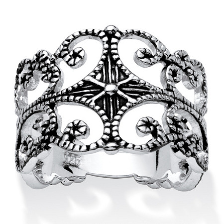 Sterling Silver Antique-Finish Filigree Band Ring at PalmBeach Jewelry