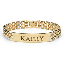 SETA JEWELRY Personalized I.D. Panther-Link Name Bracelet in Yellow Gold Tone 7.25