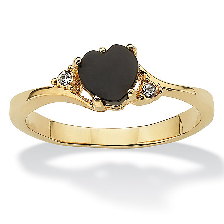 Heart-Shaped Genuine Onyx and Crystal Accent 14k Yellow Gold-Plated Ring at PalmBeach Jewelry